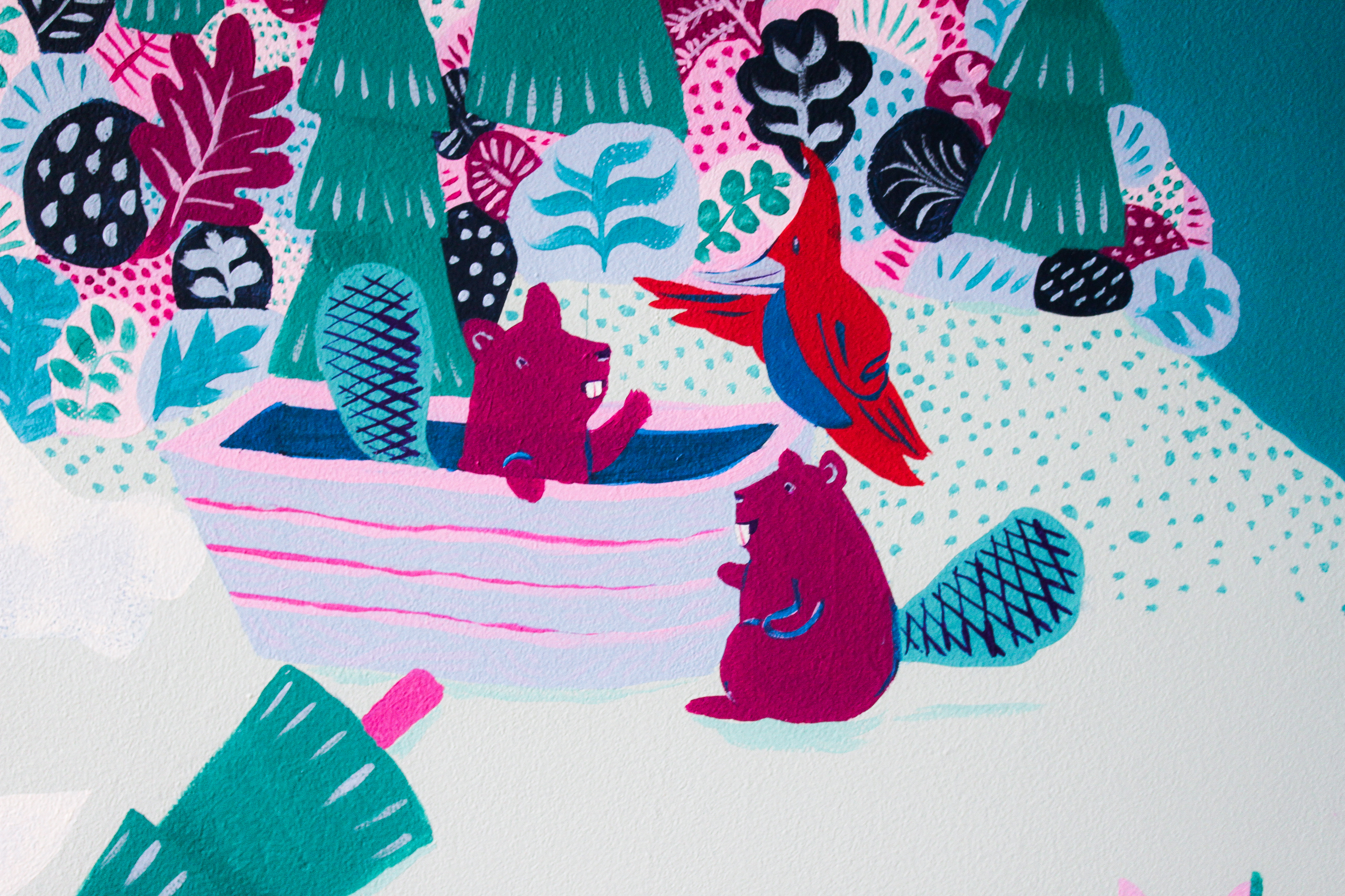 mural detail: a woodpecker instructing beavers how to build a boat