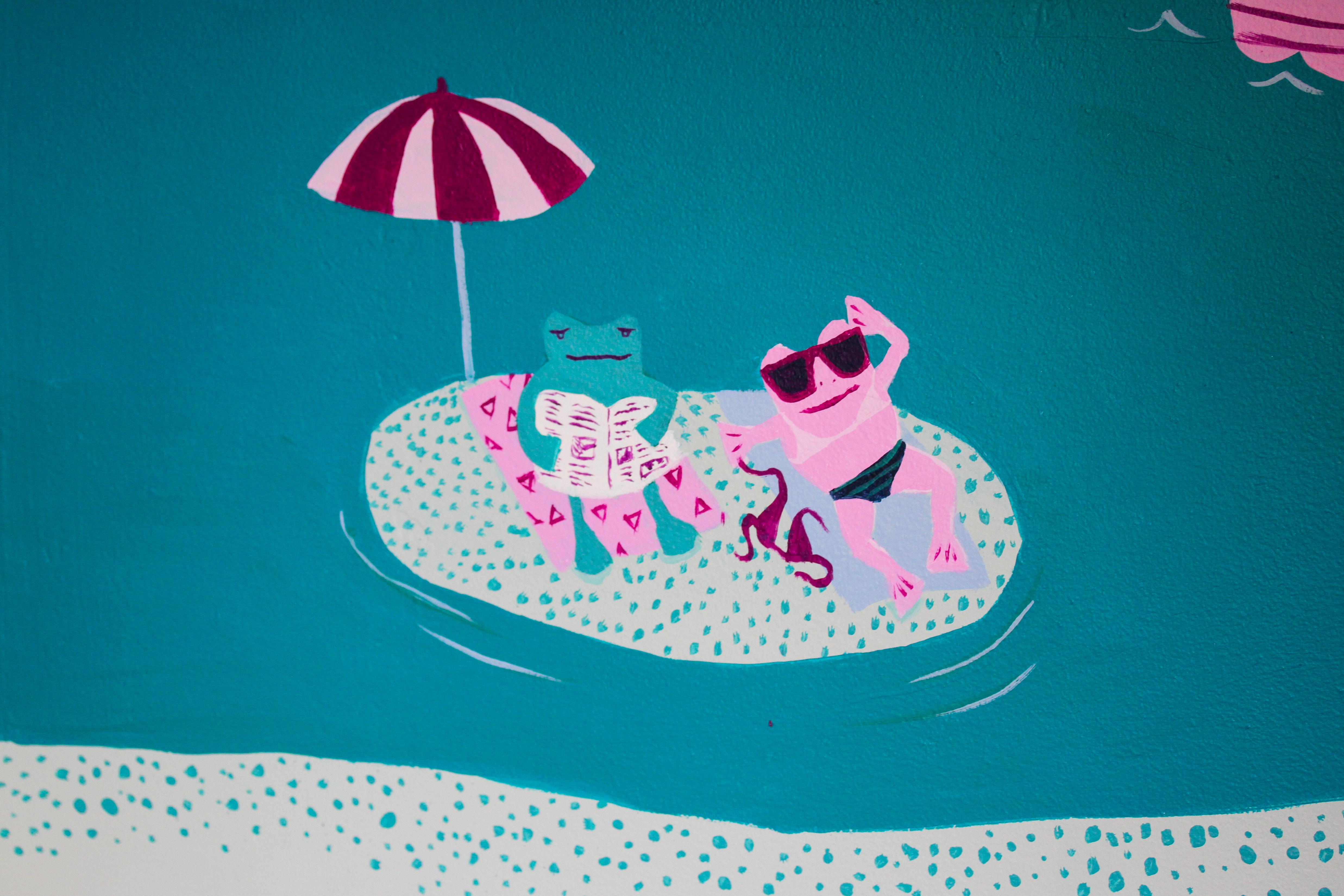 mural detail: frogs sunbathing on an island