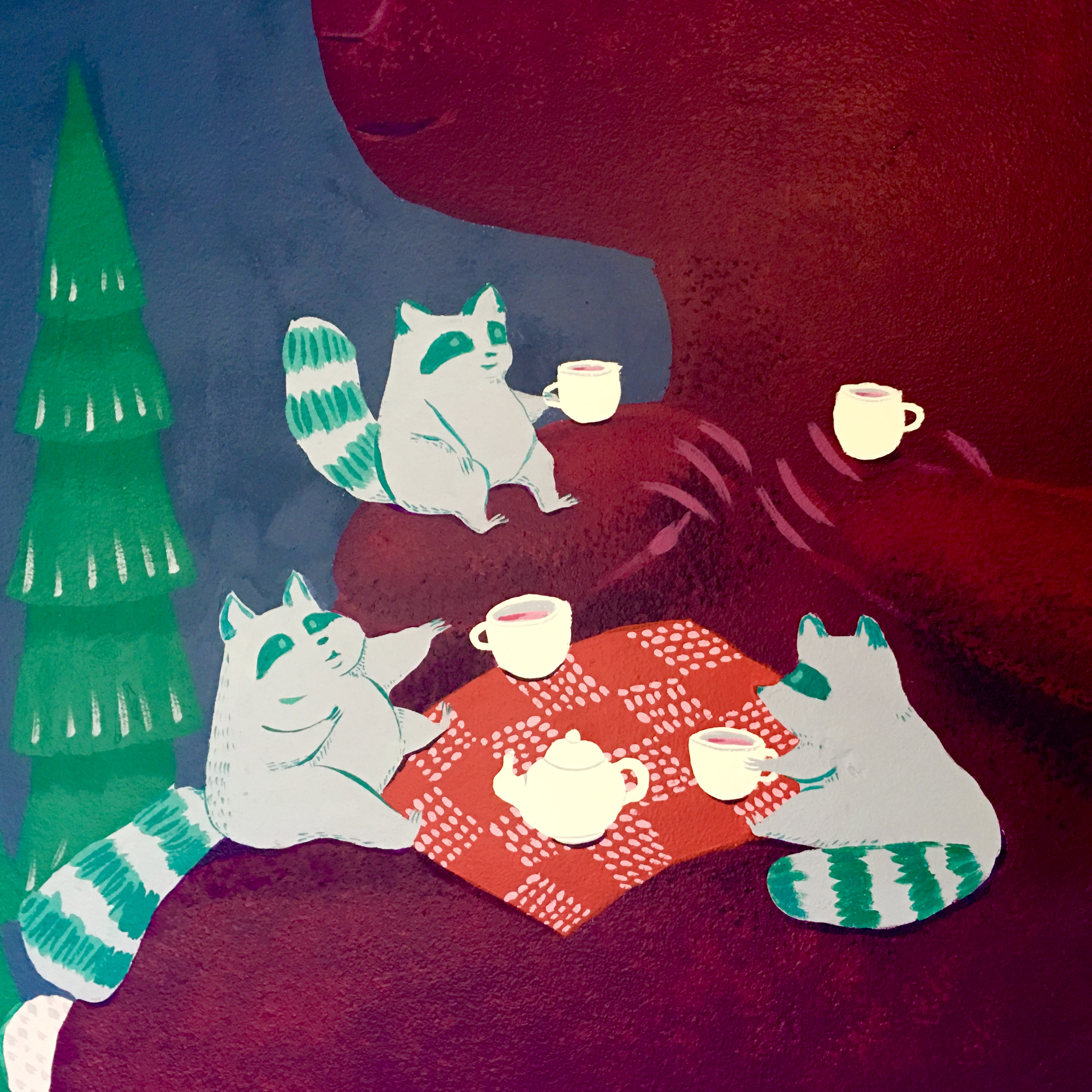 mural detail: raccoon tea party on the big bear's belly