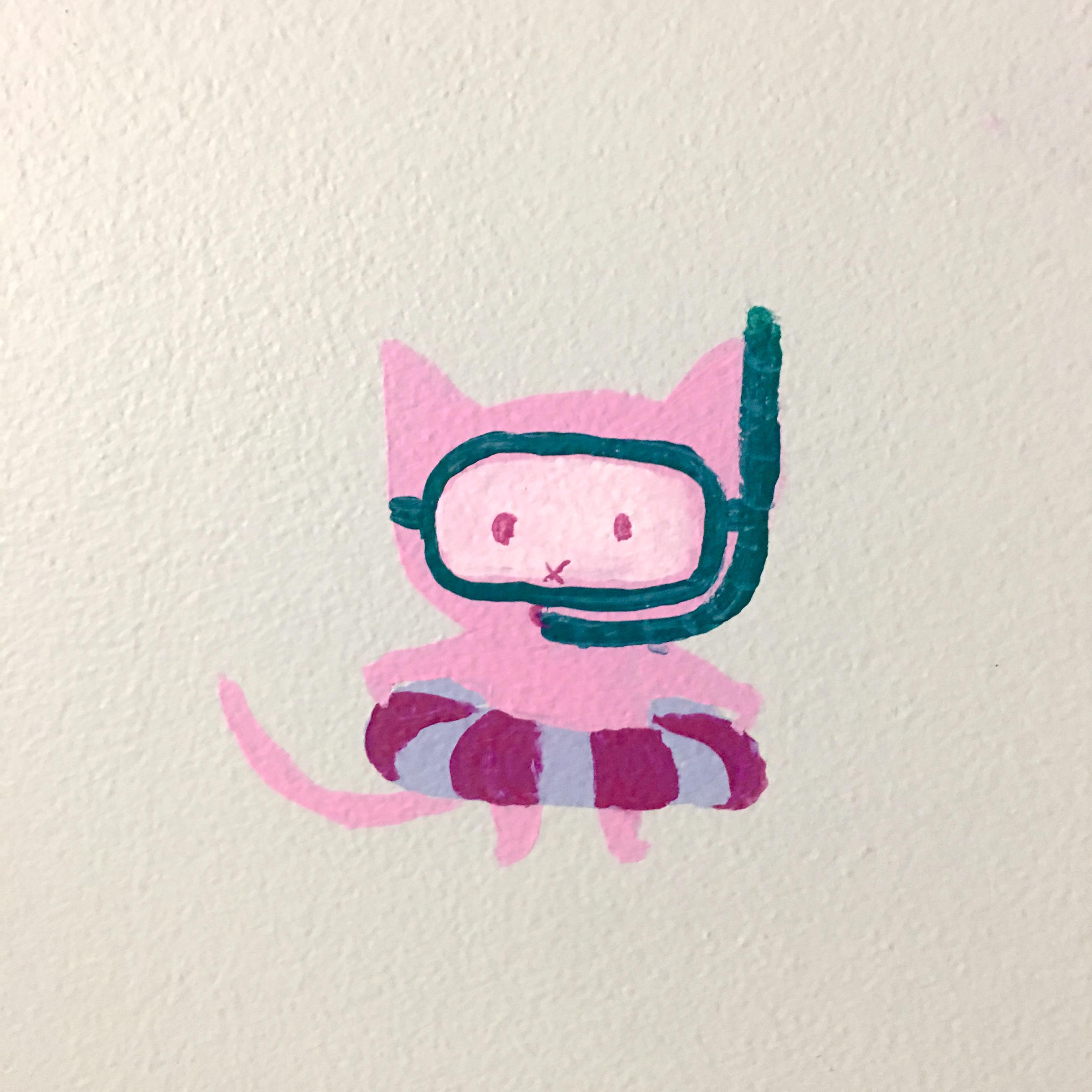 mural detail: feral snorkel cat