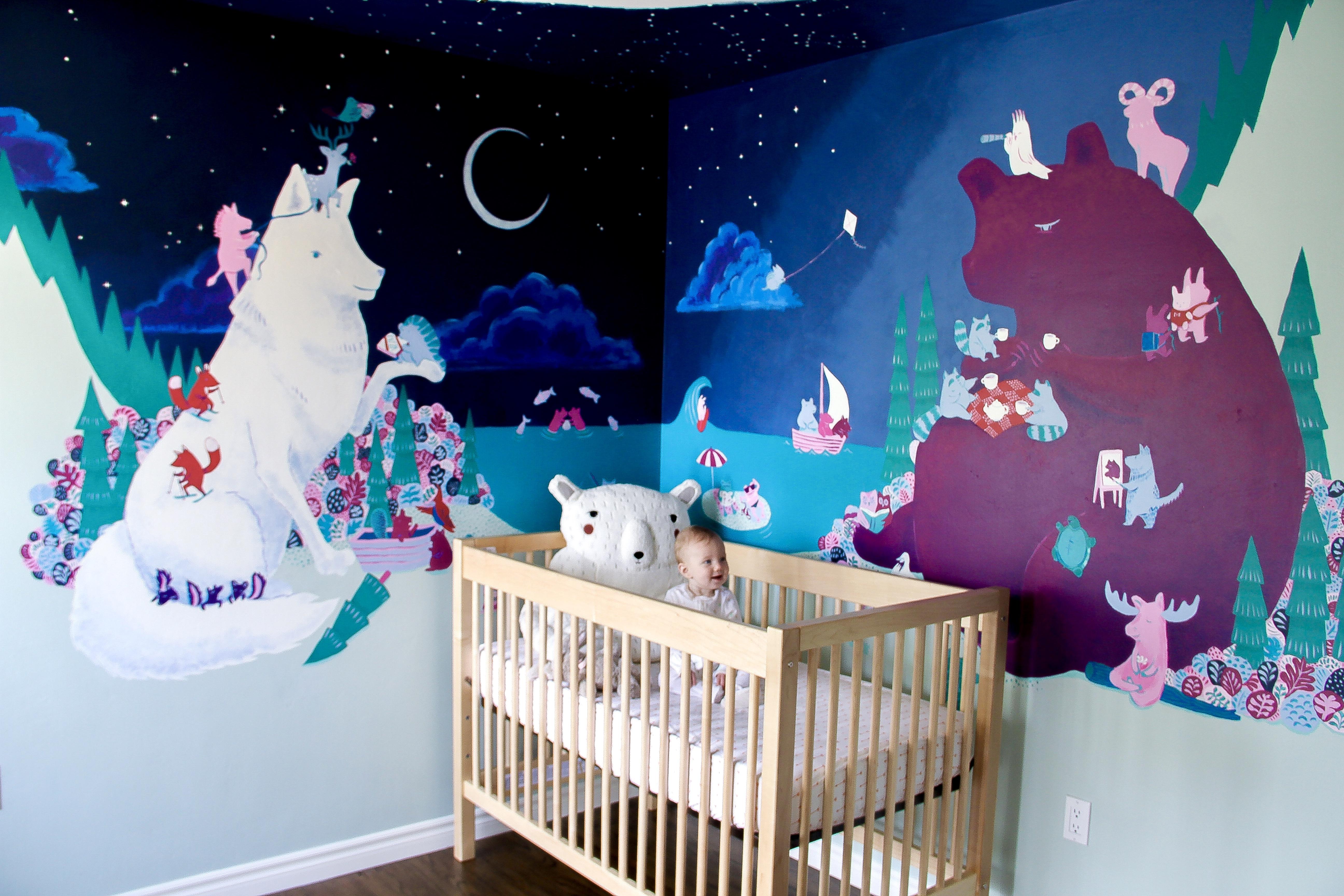 Mural baby in crib