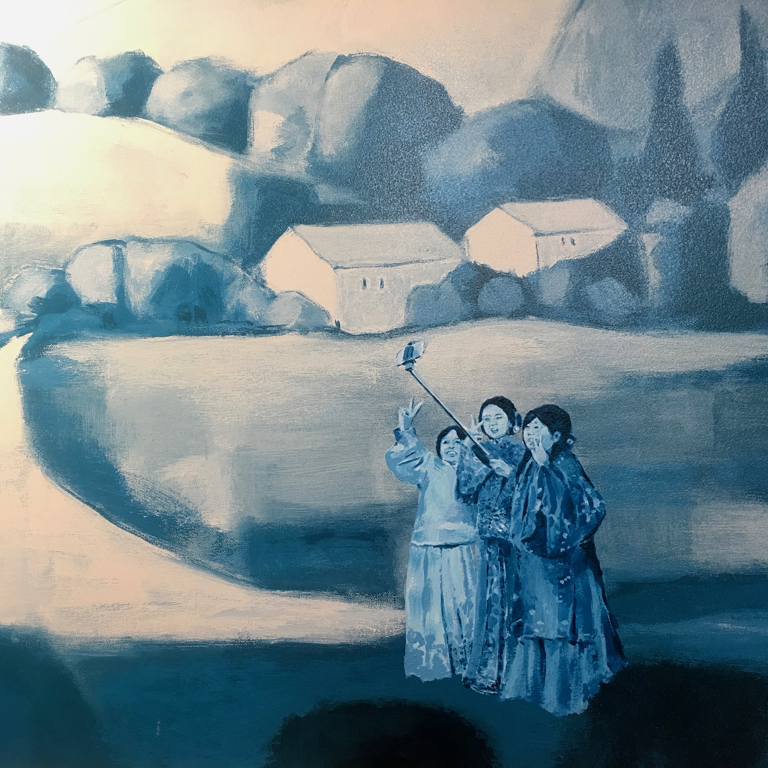 Detail: three friends in Ming Dynasty clothing in a French countryside painting, Time Tourist Selfie Series