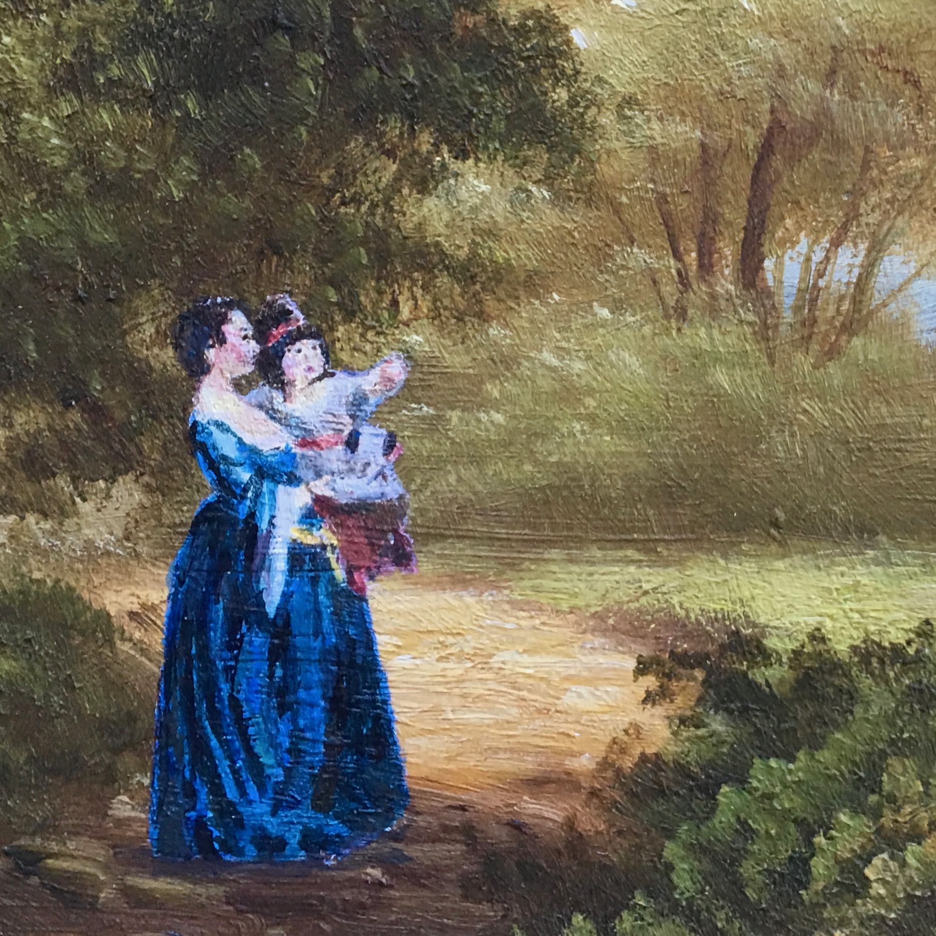 Woman with baby in blue dress, Anka Hui, Kira Findley