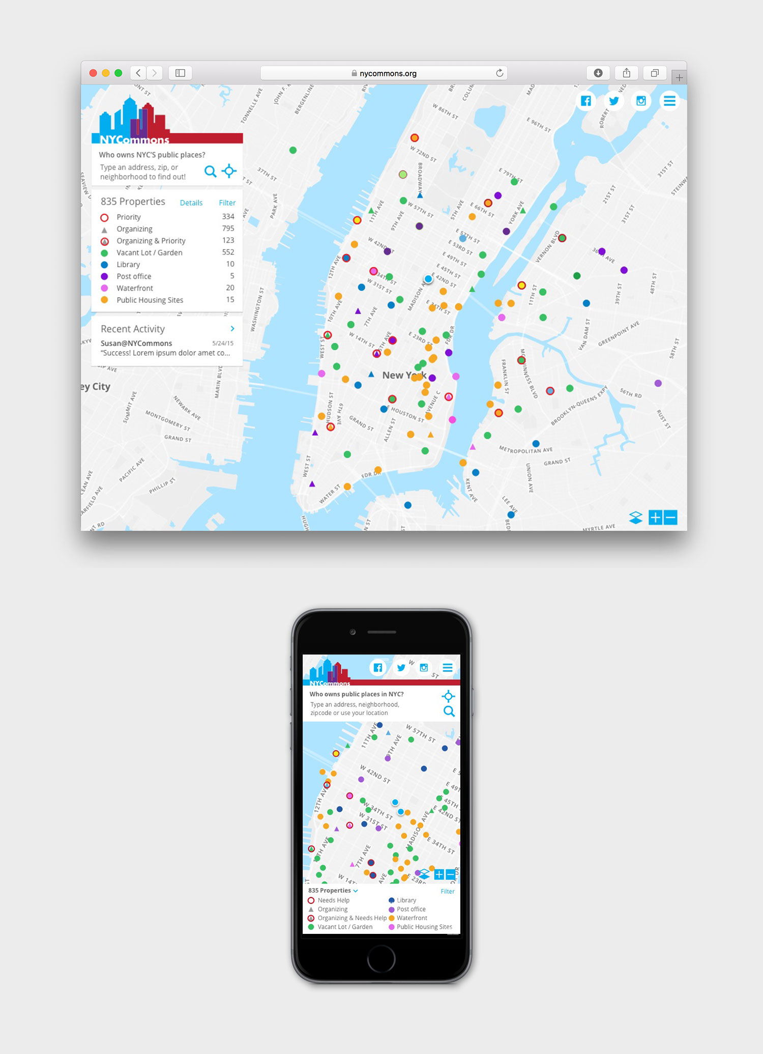 NyCommons web and mobile