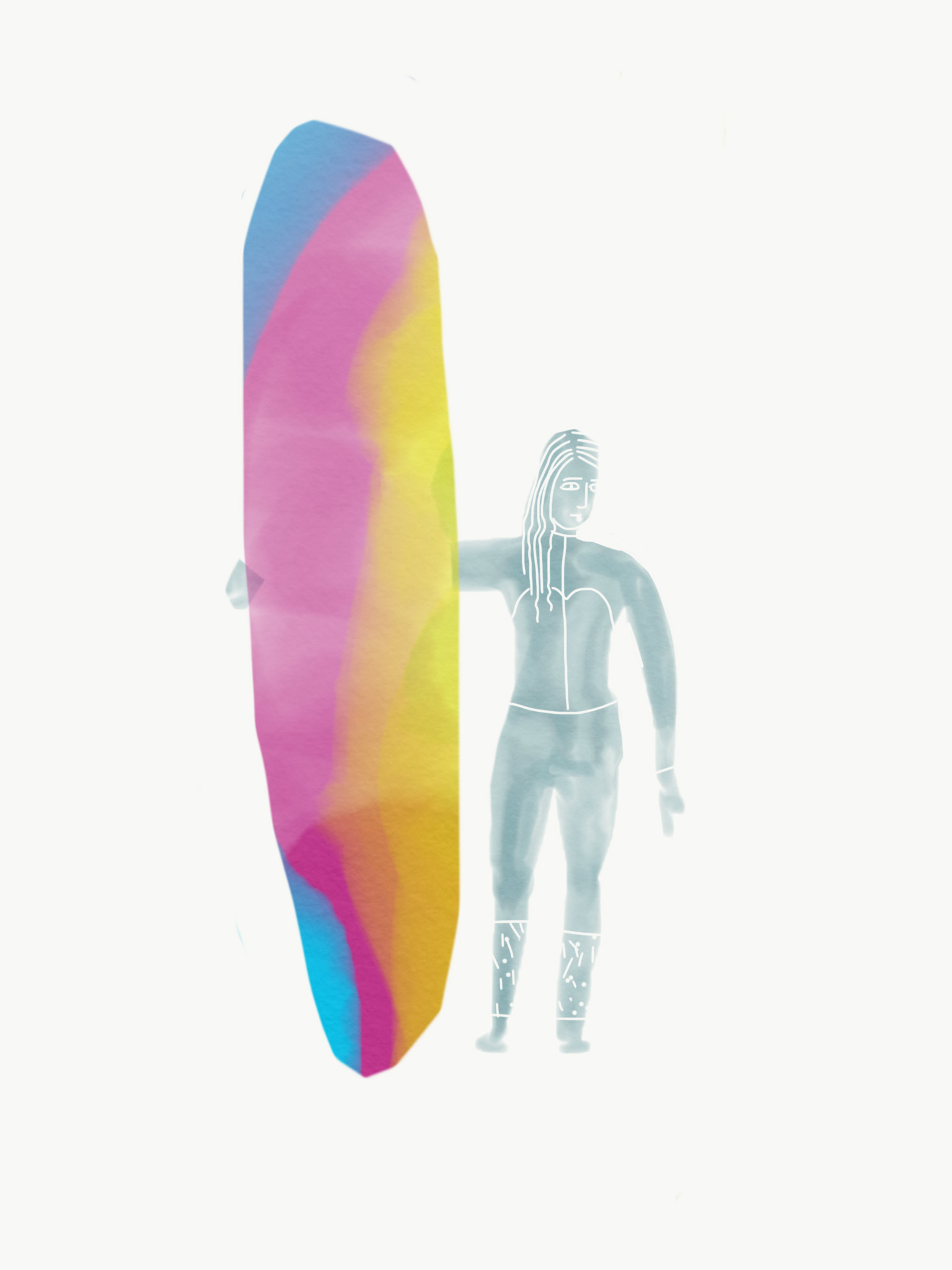 Jessica Findley and her Thomas Surfboard
